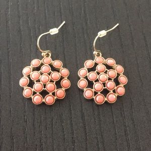 Coral and Gold Toned Fashion Earrings J Crew Brand